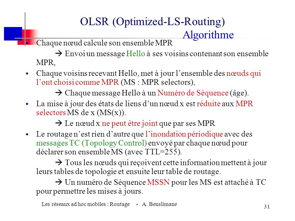 OLSR (Optimized-LS-Routing) Algorithme