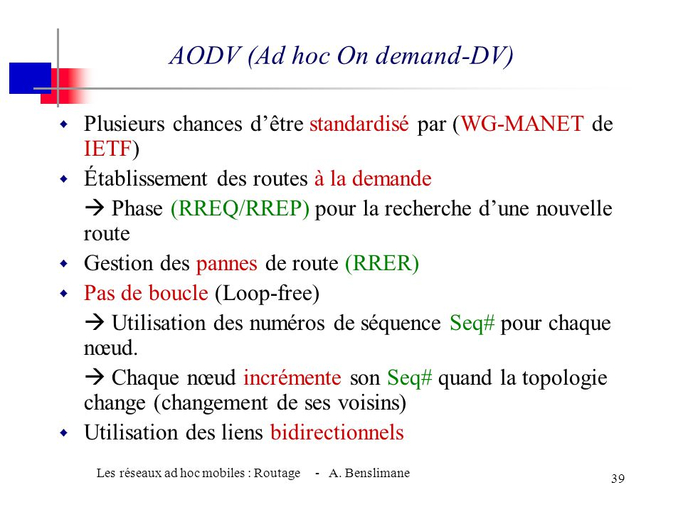 AODV (Ad hoc On demand-DV)