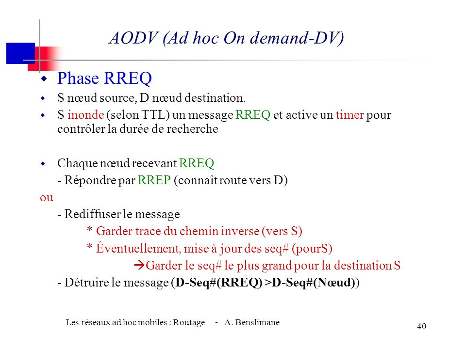 AODV (Ad hoc On demand-DV)A