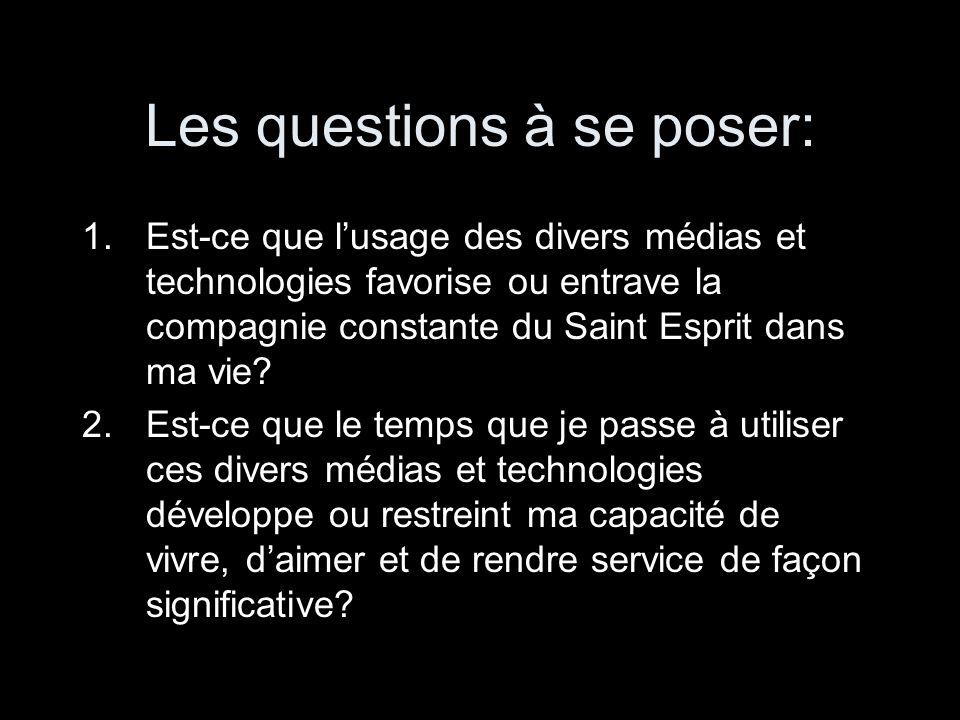 Les questions à se poser: