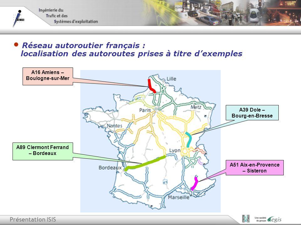 Réseau autoroutier français : localisation des autoroutes prises à titre d'exemples