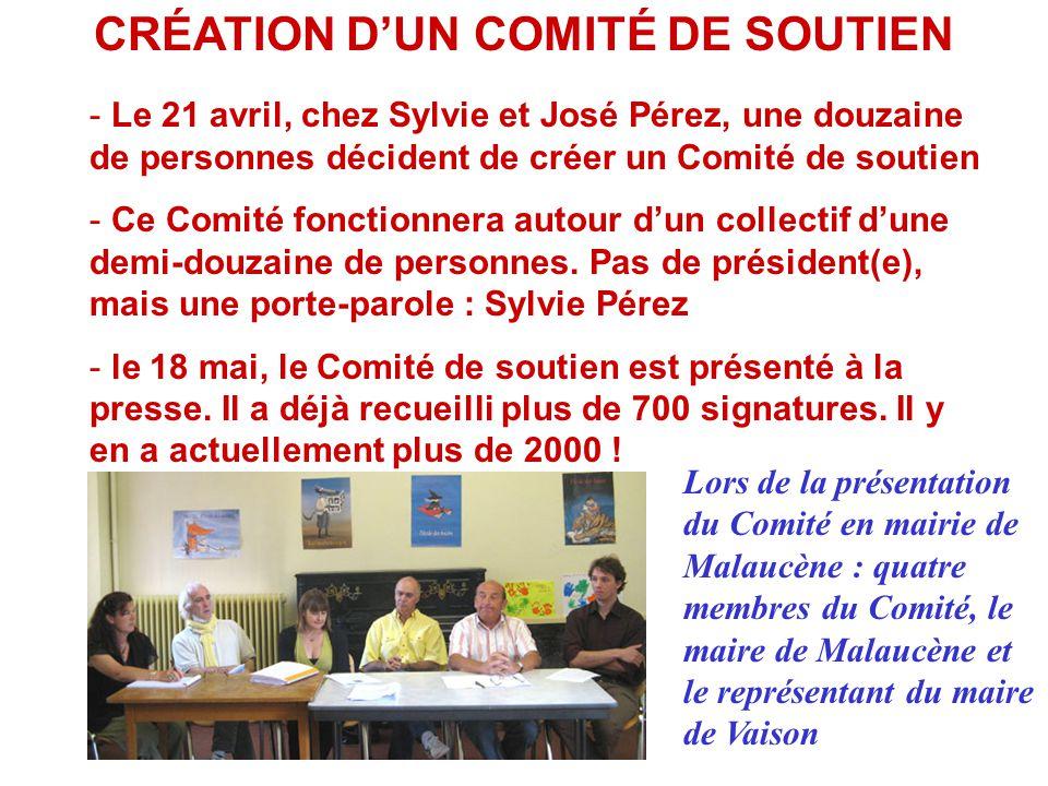 CRÉATION D'UN COMITÉ DE SOUTIEN