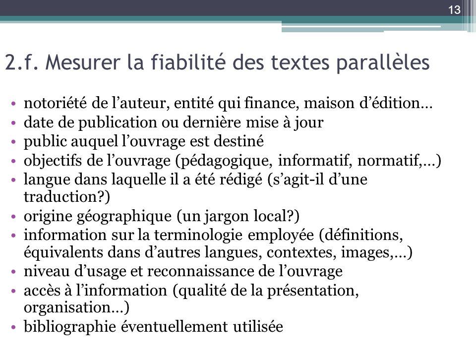 2.f. Mesurer la fiabilité des textes parallèles