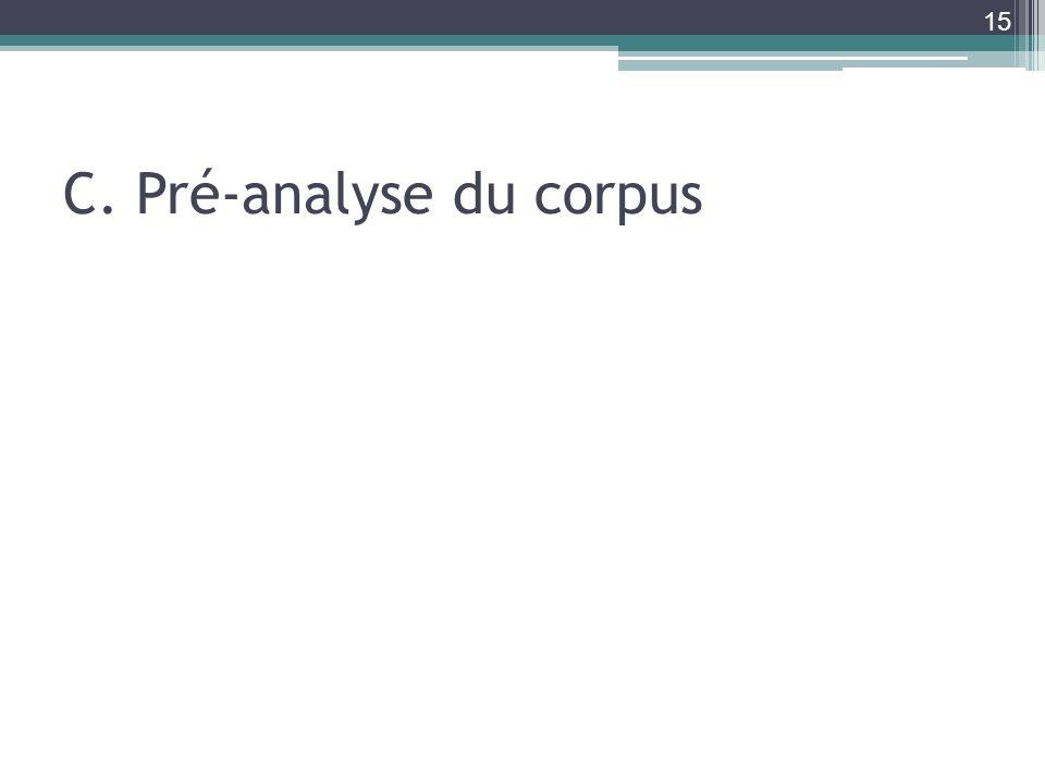 C. Pré-analyse du corpus