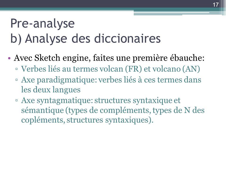 Pre-analyse b) Analyse des diccionaires