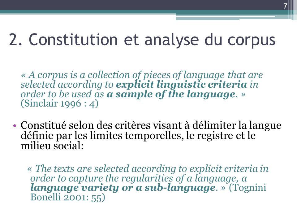 2. Constitution et analyse du corpus