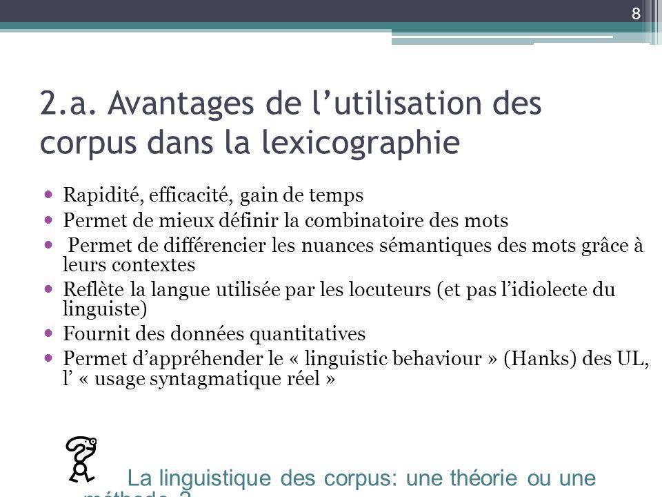 2.a. Avantages de l'utilisation des corpus dans la lexicographie