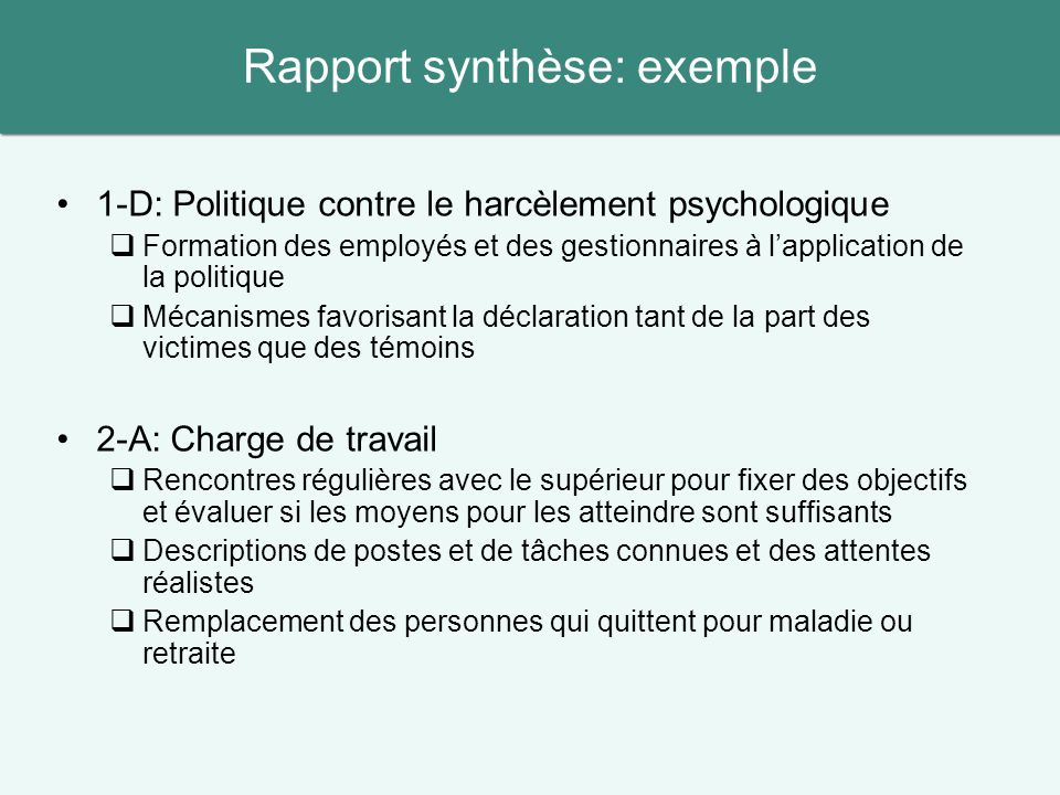 Rapport synthèse: exemple
