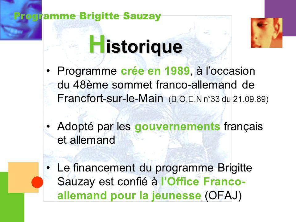 Historique Programme crée en 1989, à l'occasion du 48ème sommet franco-allemand de Francfort-sur-le-Main (B.O.E.N n°33 du 21.09.89)