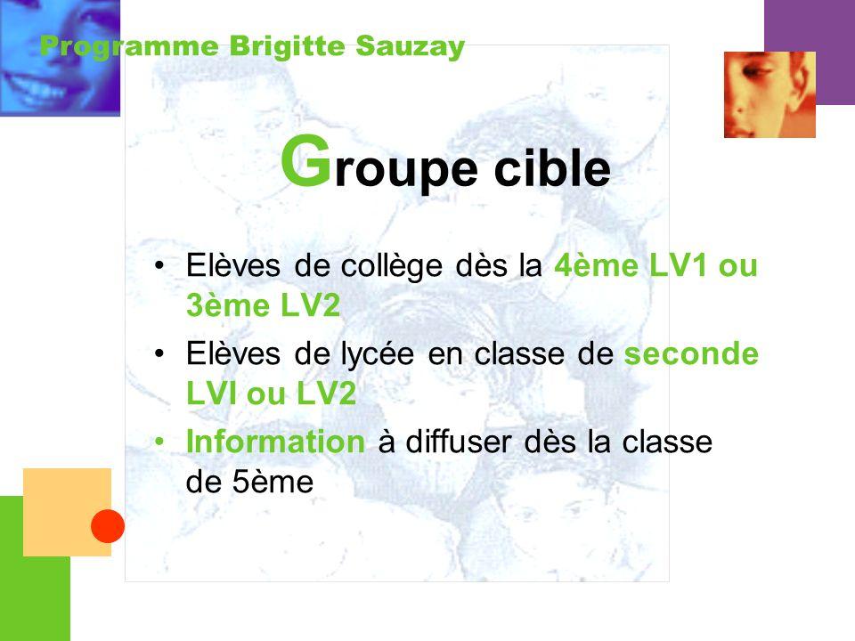 Groupe cible Elèves de collège dès la 4ème LV1 ou 3ème LV2