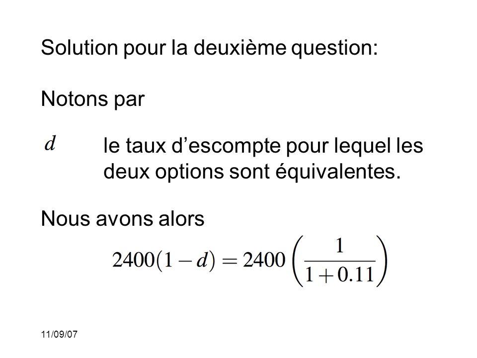 Solution pour la deuxième question: Notons par