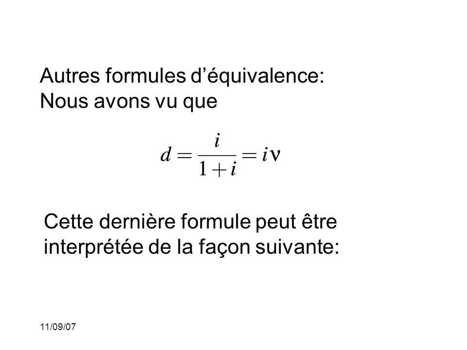 Autres formules d'équivalence: Nous avons vu que