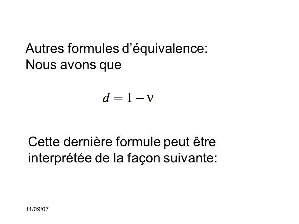 Autres formules d'équivalence: Nous avons que