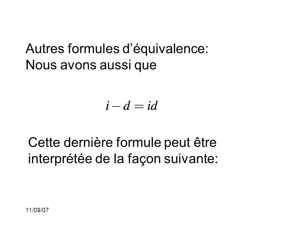 Autres formules d'équivalence: Nous avons aussi que