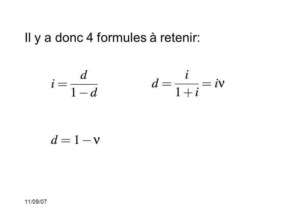 Il y a donc 4 formules à retenir: