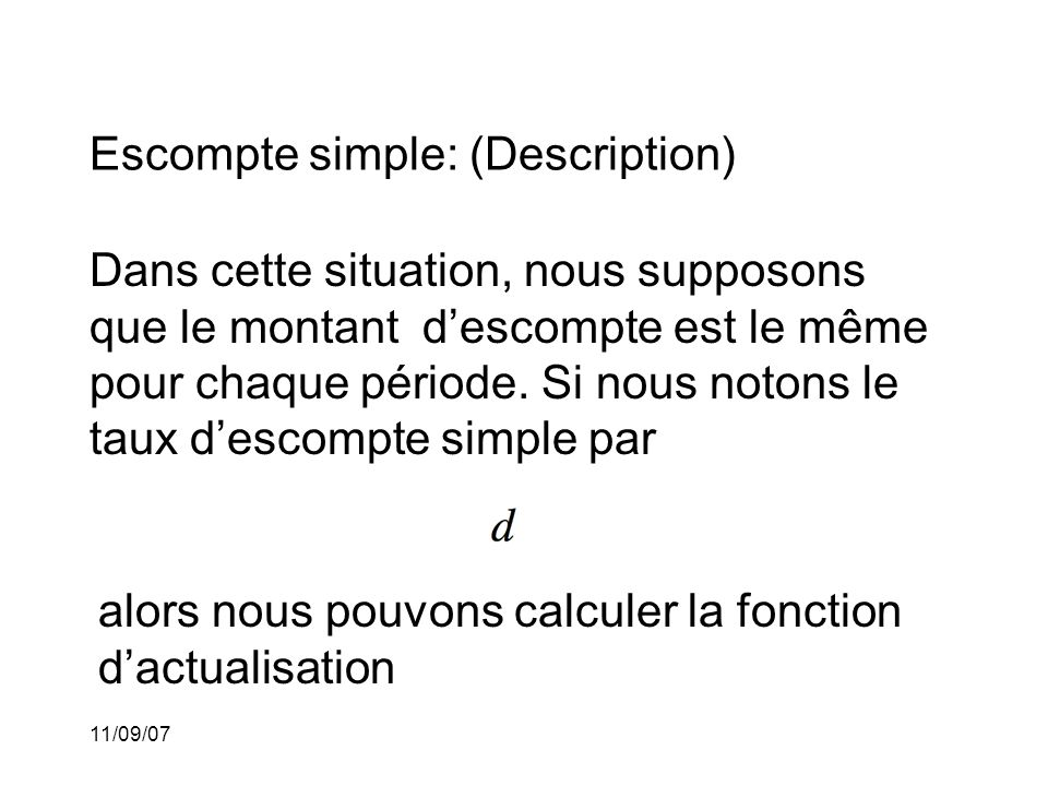 Escompte simple: (Description)