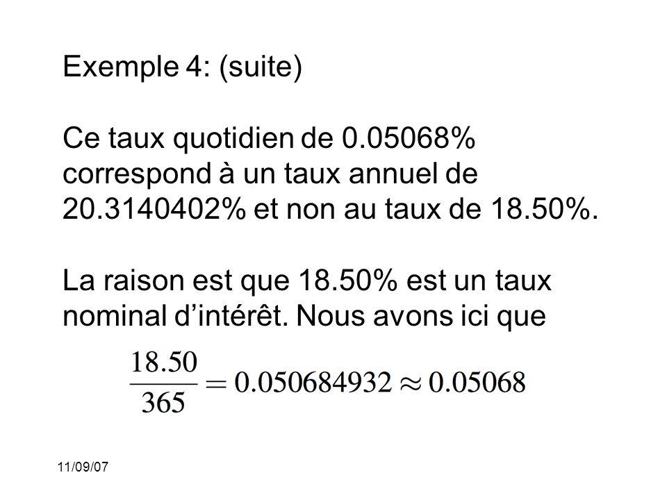 Exemple 4: (suite) Ce taux quotidien de 0