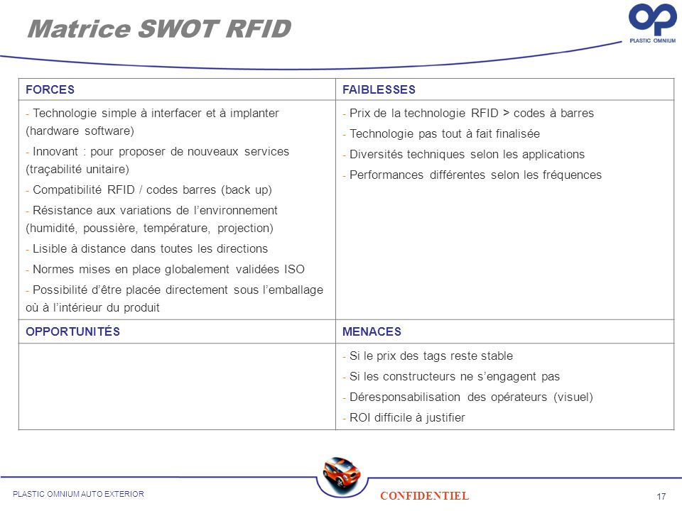 Matrice SWOT RFID FORCES FAIBLESSES