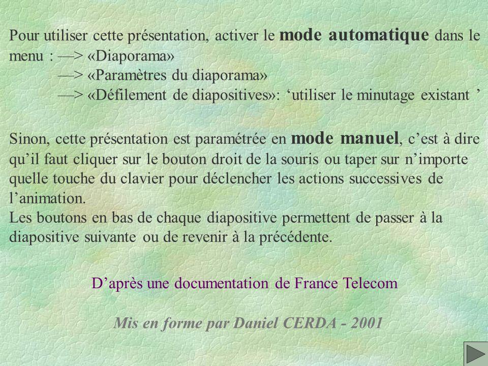 Pour utiliser cette présentation, activer le mode automatique dans le
