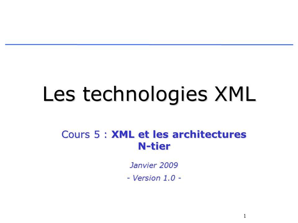 Cours 5 : XML et les architectures N-tier Janvier 2009 - Version 1.0 -