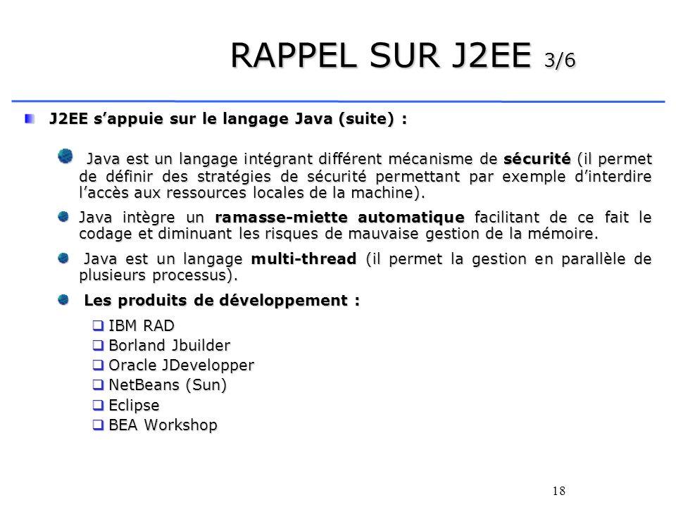 RAPPEL SUR J2EE 3/6 J2EE s'appuie sur le langage Java (suite) :