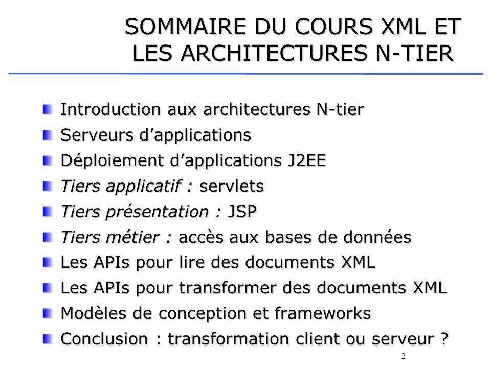 SOMMAIRE DU COURS XML ET LES ARCHITECTURES N-TIER
