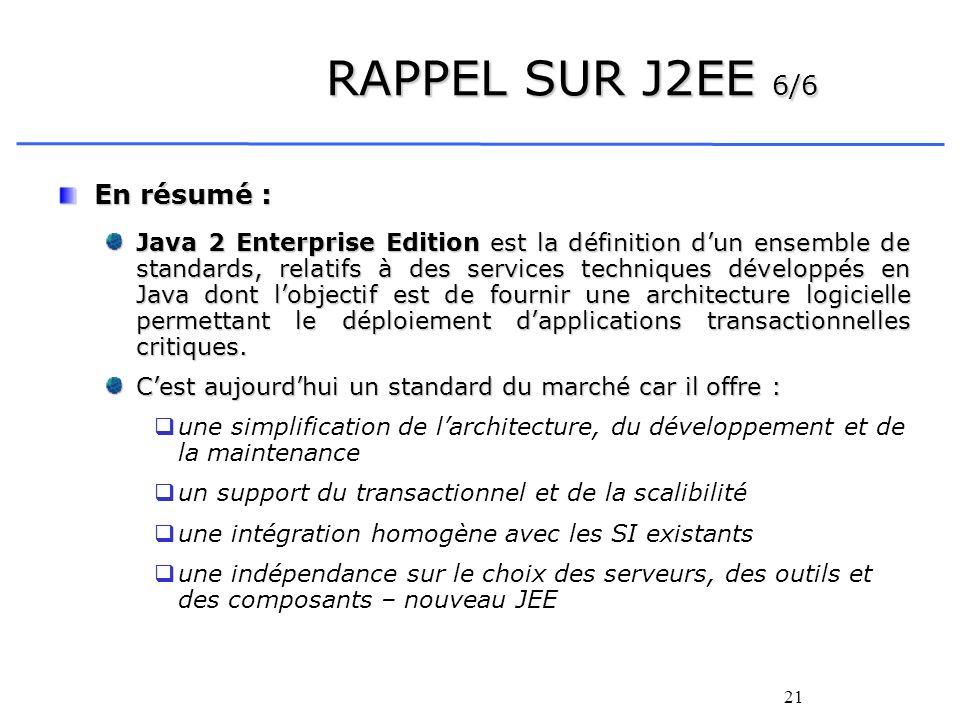 RAPPEL SUR J2EE 6/6 En résumé :