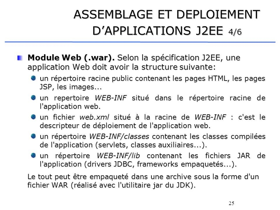 ASSEMBLAGE ET DEPLOIEMENT D'APPLICATIONS J2EE 4/6