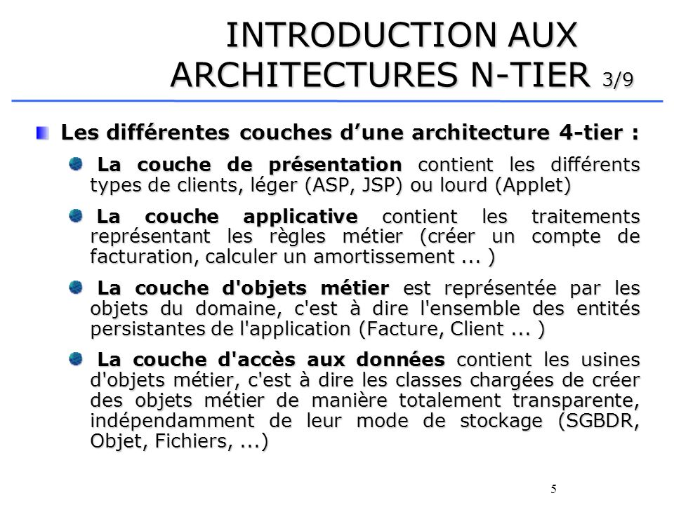 INTRODUCTION AUX ARCHITECTURES N-TIER 3/9