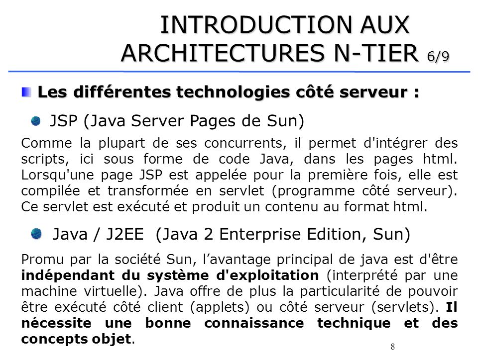 INTRODUCTION AUX ARCHITECTURES N-TIER 6/9