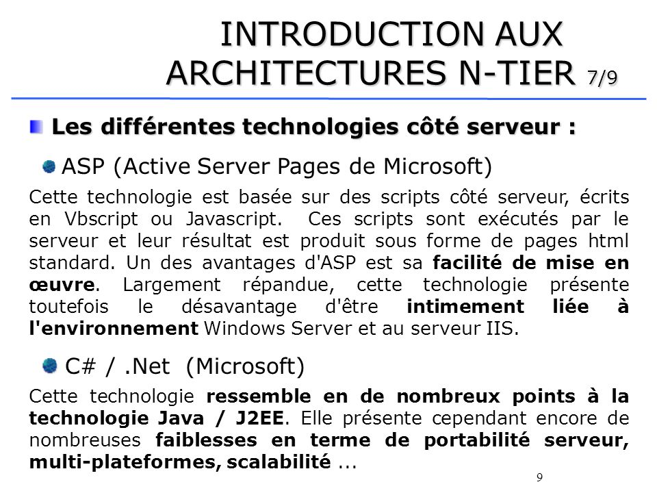 INTRODUCTION AUX ARCHITECTURES N-TIER 7/9