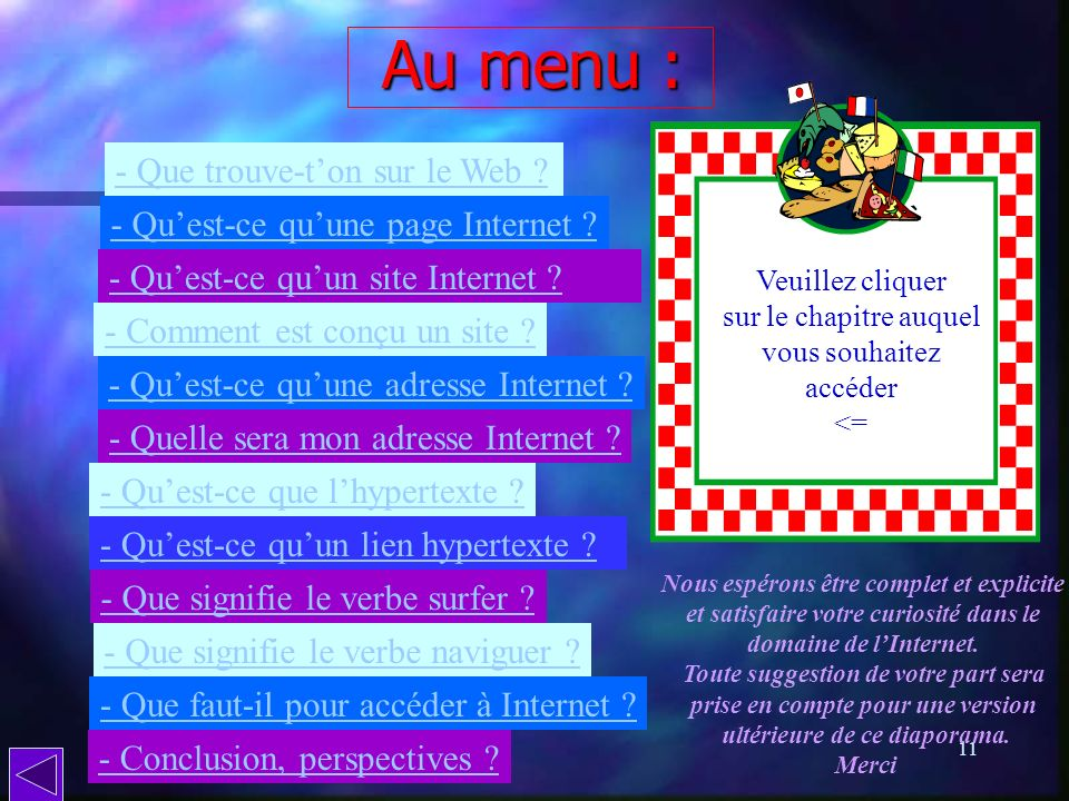 Au menu : - Que trouve-t'on sur le Web