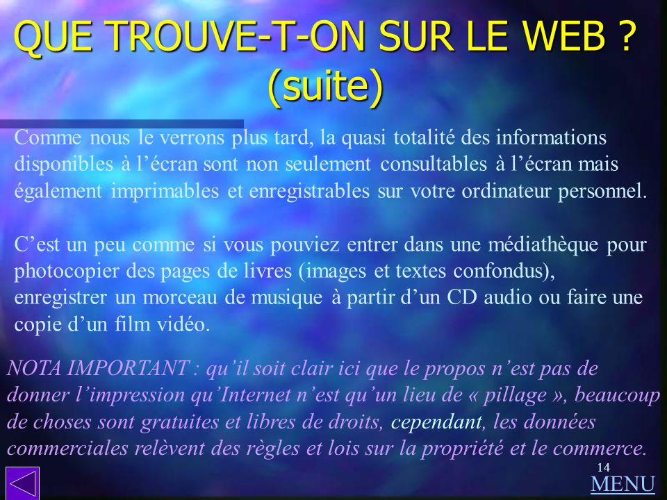 QUE TROUVE-T-ON SUR LE WEB (suite)