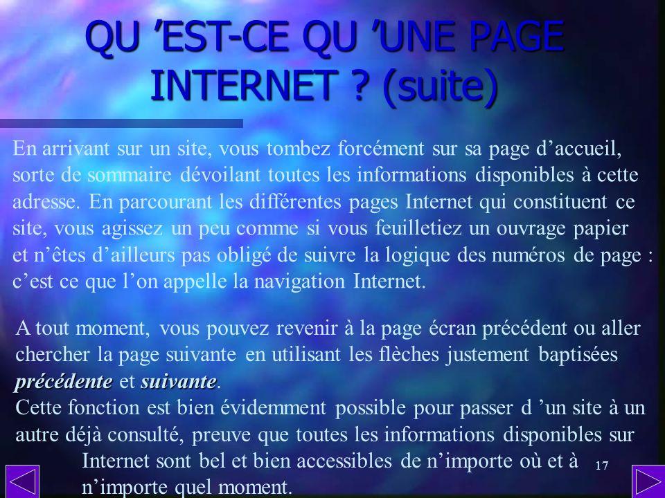 QU 'EST-CE QU 'UNE PAGE INTERNET (suite)