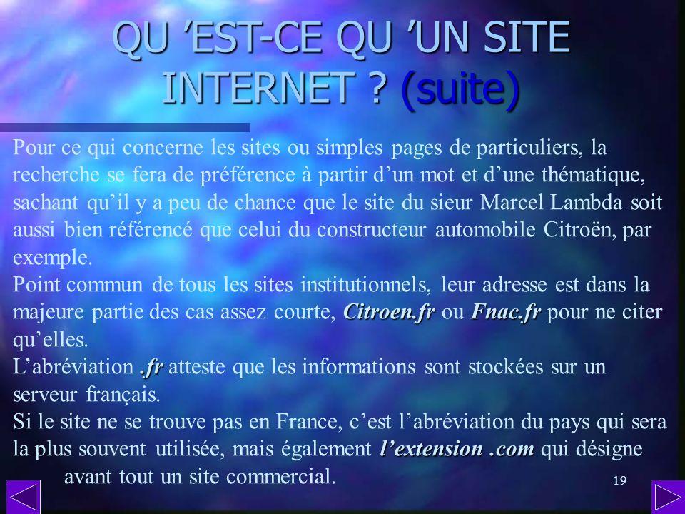 QU 'EST-CE QU 'UN SITE INTERNET (suite)