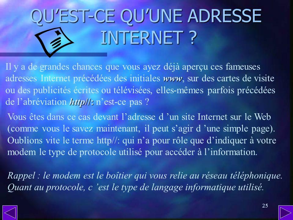 QU'EST-CE QU'UNE ADRESSE INTERNET
