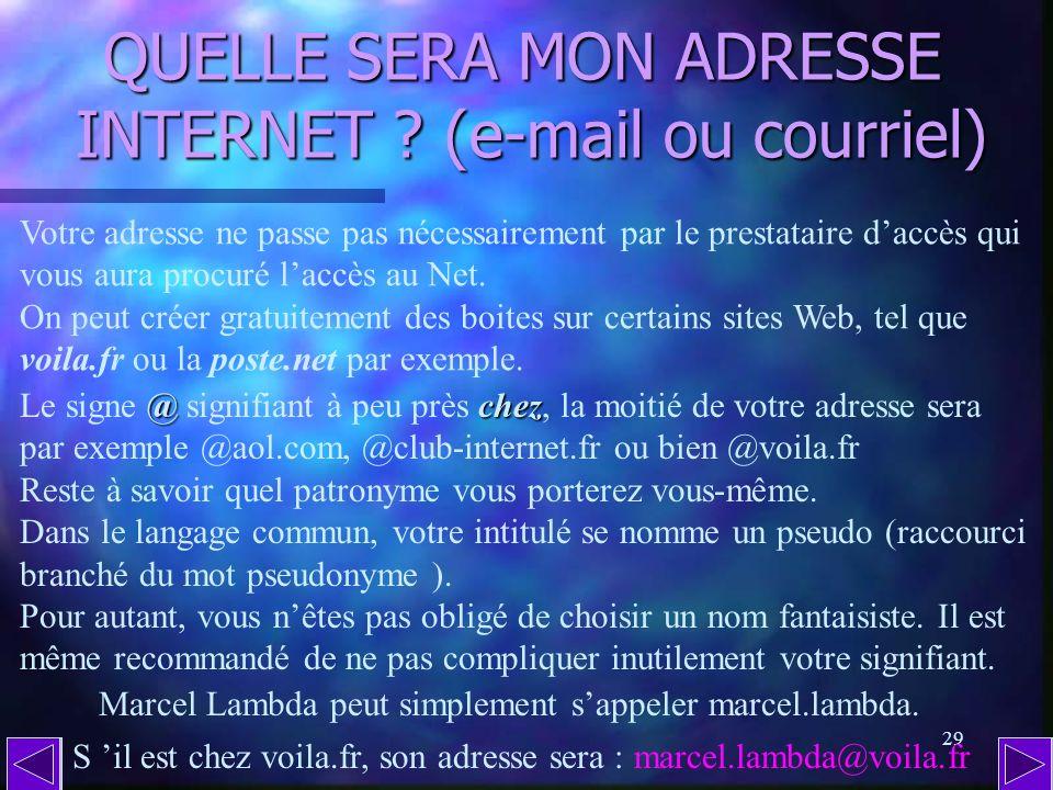 QUELLE SERA MON ADRESSE INTERNET (e-mail ou courriel)