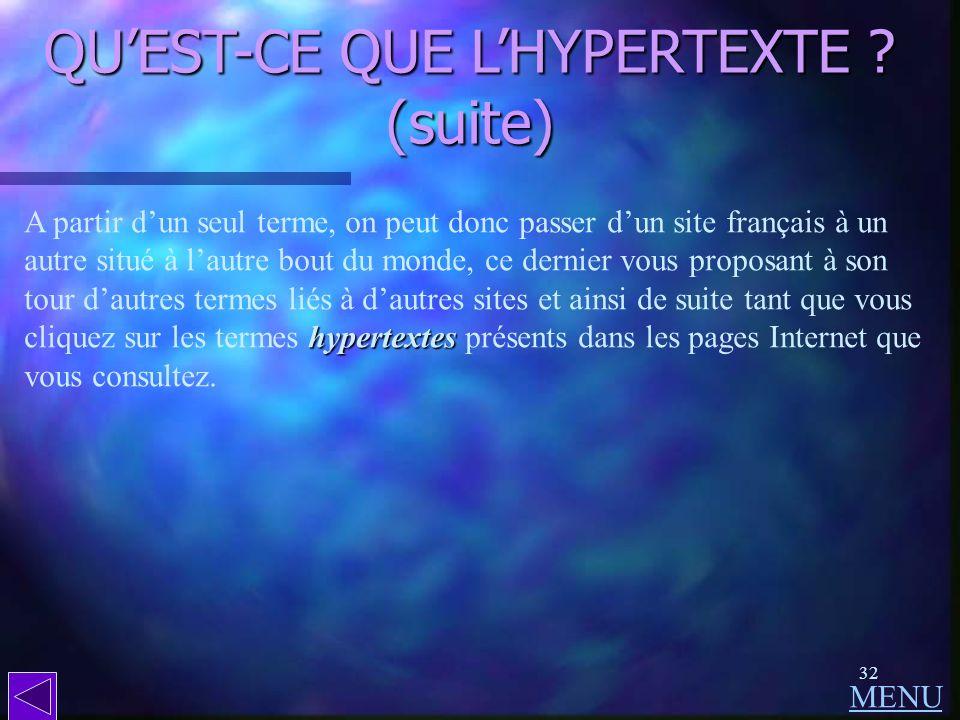 QU'EST-CE QUE L'HYPERTEXTE (suite)