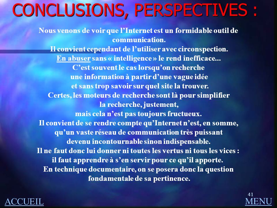 CONCLUSIONS, PERSPECTIVES :