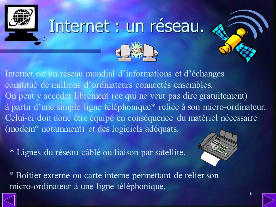 Internet : un réseau. Internet est un réseau mondial d'informations et d'échanges. constitué de millions d'ordinateurs connectés ensembles.