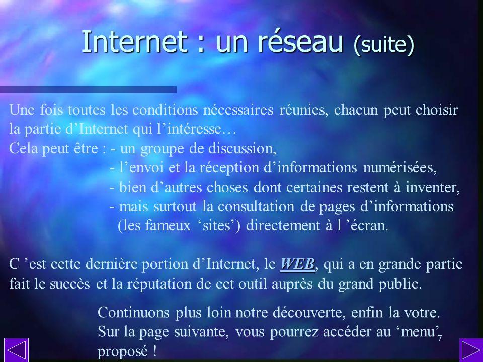 Internet : un réseau (suite)