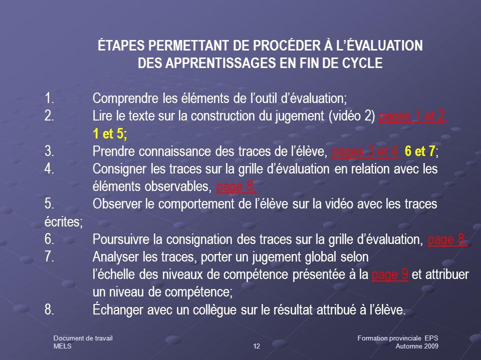 1. Comprendre les éléments de l'outil d'évaluation;
