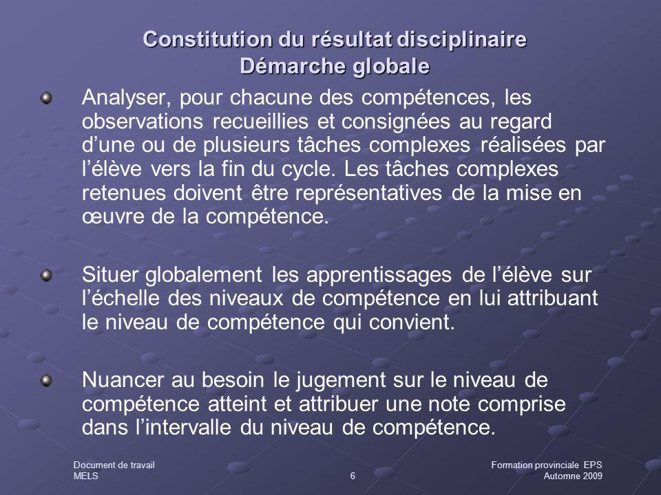Constitution du résultat disciplinaire Démarche globale