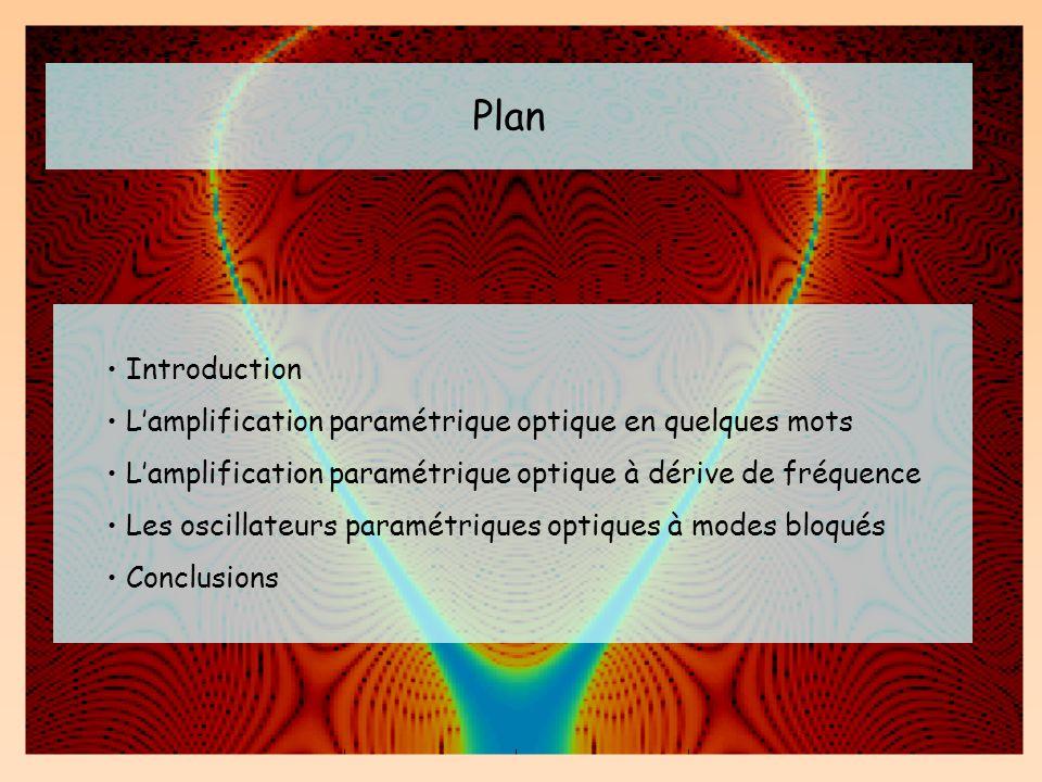 Plan Introduction. L'amplification paramétrique optique en quelques mots. L'amplification paramétrique optique à dérive de fréquence.