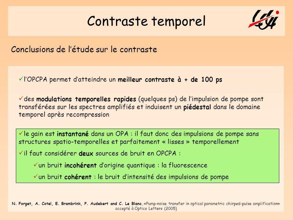 Contraste temporel Conclusions de l'étude sur le contraste