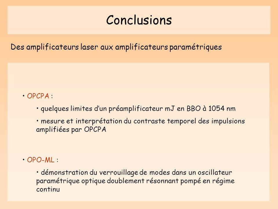 Conclusions Des amplificateurs laser aux amplificateurs paramétriques