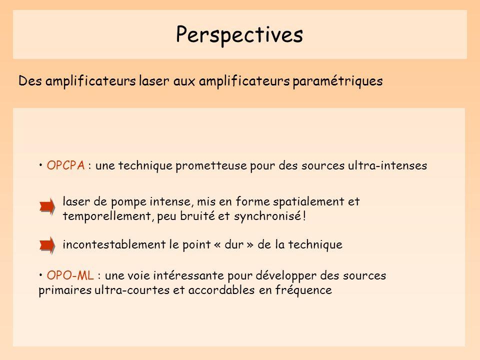 Perspectives Des amplificateurs laser aux amplificateurs paramétriques