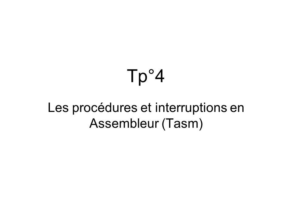 Les procédures et interruptions en Assembleur (Tasm)