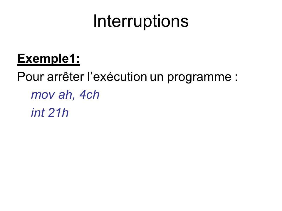 Interruptions Exemple1: Pour arrêter l'exécution un programme :