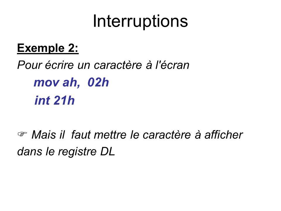 Interruptions int 21h Exemple 2: Pour écrire un caractère à l écran